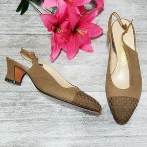 Salvatore Ferragamo woven cap toe slingback heels